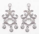 Chandelier Earrings with 4MM Round Stones - Photo Museum Store Company