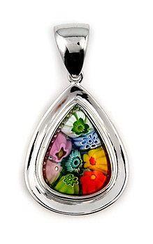 Multi Color Millefiori - Murano Glass Drop Pendant - Photo Museum Store Company