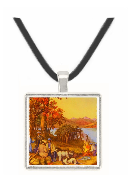 Hunting -  Fishing and Forest Scenes - Currier and Ives -  Museum Exhibit Pendant - Museum Company Photo