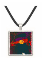 Lady with hat and feather by Klimt -  Museum Exhibit Pendant - Museum Company Photo