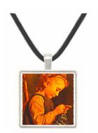 Little Girl Knitting - Albert Anker -  Museum Exhibit Pendant - Museum Company Photo