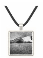 Man sleeping by Seurat -  Museum Exhibit Pendant - Museum Company Photo