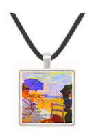 On the beach at Trouville by Monet -  Museum Exhibit Pendant - Museum Company Photo