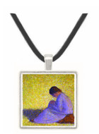 Peasant Woman Seated in the Grass by Seurat -  Museum Exhibit Pendant - Museum Company Photo