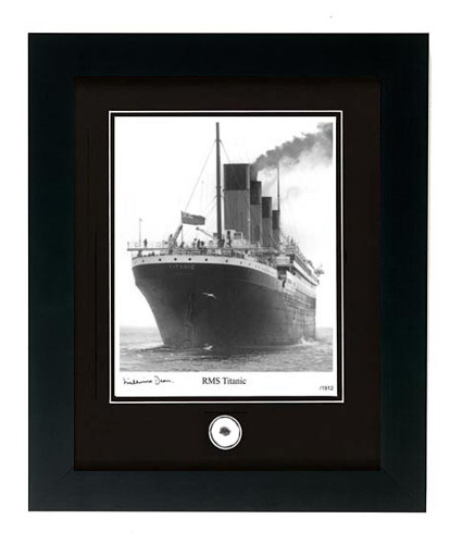RMS Titanic Photo with Coal Fragment Signed by Survivor Millvina Dean - Photo Museum Store Company