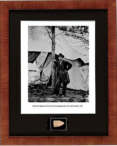 General Ulysses S. Grant at Cold Harbor, VA, 1864 photo with Civil war relic bullet - Photo Museum Store Company