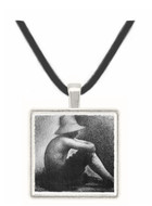 Sitting boy in straw hat by Seurat -  Museum Exhibit Pendant - Museum Company Photo