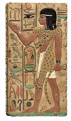 Egyptian Priest Relief, Painted - Temple of Abidos, Egypt. 19th Dynasty, 1317 B.C. - Photo Museum Store Company