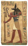 Anubis Relief, Painted - Temple of Abidos, Egypt. 19th.Dynasty 1317 B.C. - Photo Museum Store Company