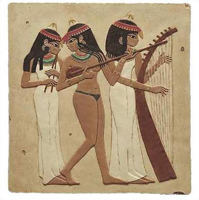 Egyptian Musicians - Tomb of Nakht, Egypt. Dynasty XVIII 1450 B.C. - Photo Museum Store Company