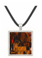 Wall and house and terrain with fence by Schiele -  Museum Exhibit Pendant - Museum Company Photo