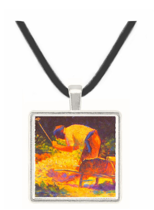 Weed knocking with wheelbarrow by Seurat -  Museum Exhibit Pendant - Museum Company Photo