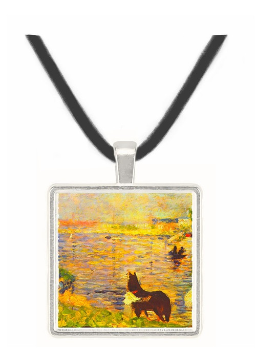 White and black horse in the river by Seurat -  Museum Exhibit Pendant - Museum Company Photo