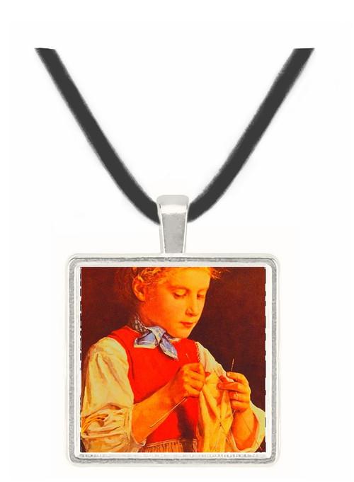 Young Girl Knitting - Albert Anker -  Museum Exhibit Pendant - Museum Company Photo
