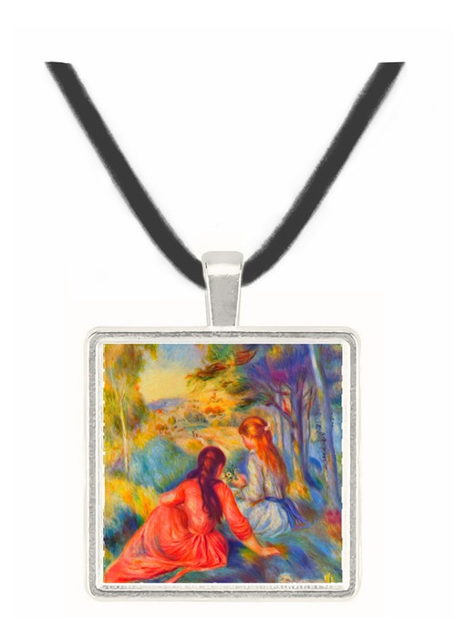 Young girls in the meadow by Renoir -  Museum Exhibit Pendant - Museum Company Photo