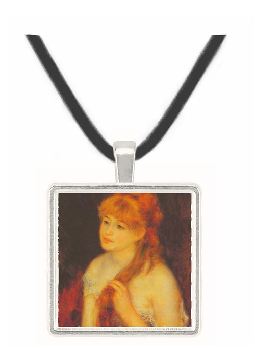 Young woman strokes her hair by Renoir -  Museum Exhibit Pendant - Museum Company Photo