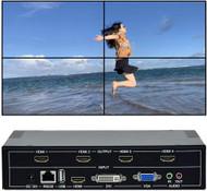 Video Wall Controller 2x2 TV Wall Controller | 1080p, HDMI 1.4, HDCP1.4 Compliant | HDMI DVI USB VGA Inputs; HDMI Outputs | Display Modes 2x2, 1x2, 1x3, 1x4, 2x1, 3x1, 4x1,Cascading max 4x5