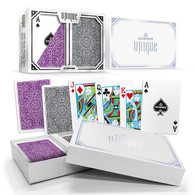 Copag Unique Plastic Playing Cards Poker Size Reg Index Purple/Grey Double-Deck Set