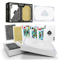 Copag Unique Plastic Playing Cards Poker Size Reg Index Gold/Black Double-Deck Set