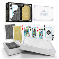 Copag Unique Plastic Playing Cards Poker Size Jumbo Index Gold/Black Double-Deck Set