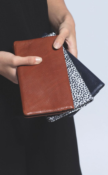 Elk Holte Wallet all three colour ways. Tan, Grey Embossed & Navy