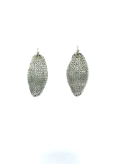 Woven Hand Knit Silver Pod Earrings BLE39S