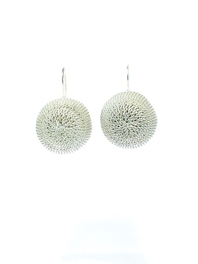 Woven Hand Knit Silver Sphere Earrings XL BLE44ASXL
