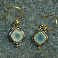 Alexander Earrings Blue Chalcedony 22k Gold & Rhodium plated