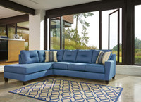 Sydney Left Facing Sectional Blue Fabric