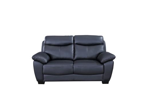 Evan Genuine Leather Loveseat Black