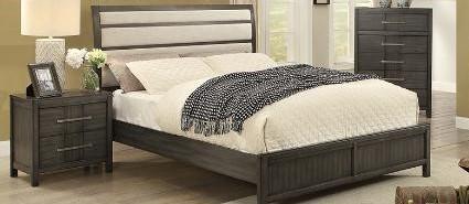 Sandra King Bed Frame w/rails Grey