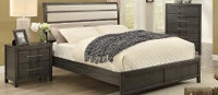 Sandra King Bed Frame w/rails Grey