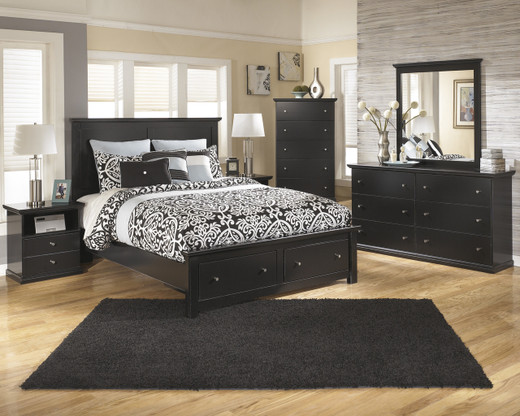 Maribel Queen Storage Bed w/rails Black