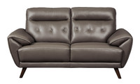 Lexie Genuine Leather Loveseat Grey