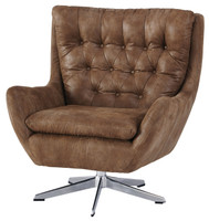 Bexley Faux Leather Swivel Chair Brown
