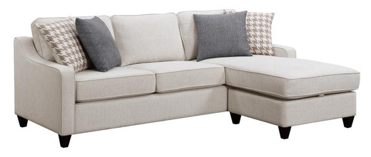 Tiffany Fabric Reversible Storage Sectional Beige
