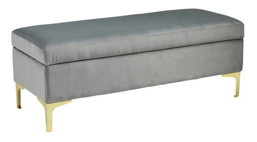 Bachwich Velvet Bench Grey