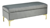 Bachwich Velvet Bench Grey