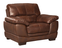 Zane Genuine Leather Chair Brown