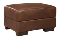 Zane Genuine Leather Ottoman Brown