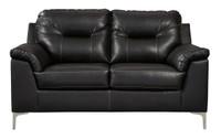 Adair Faux Leather Loveseat Black