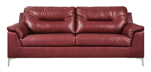Adair Faux Leather Sofa Red