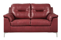 Adair Faux Leather Loveseat Red
