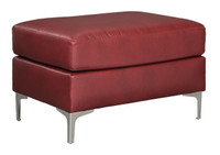 Adair Faux Leather Ottoman Red