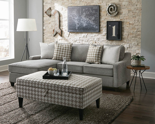 Tiffany Fabric Reversible Storage Sectional Grey