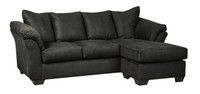 Madison Fabric Reversible Sectional Black
