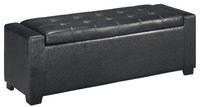 Jax Faux Leather Storage Bench Black