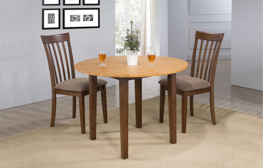 Delfini 3pc Drop Leaf Dining Set Fruitwood