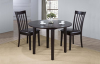 Delfini 3pc Drop Leaf Dining Set Espresso