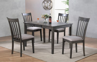 Delfini 5pc Extension Leaf Dining Set Grey